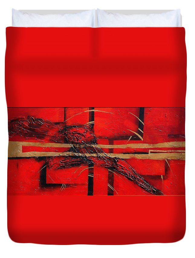 Abstract.red. Gold Duvet Cover featuring the painting In Red by Milda Aleknaite