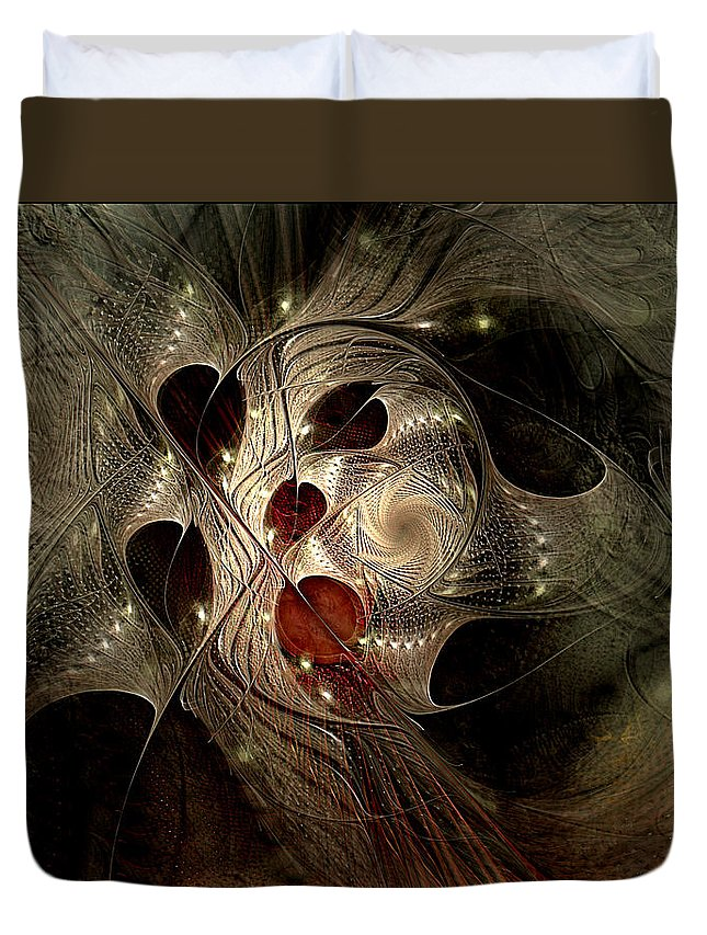 Abstract Duvet Cover featuring the digital art In Search Of The Lost Chord by Casey Kotas