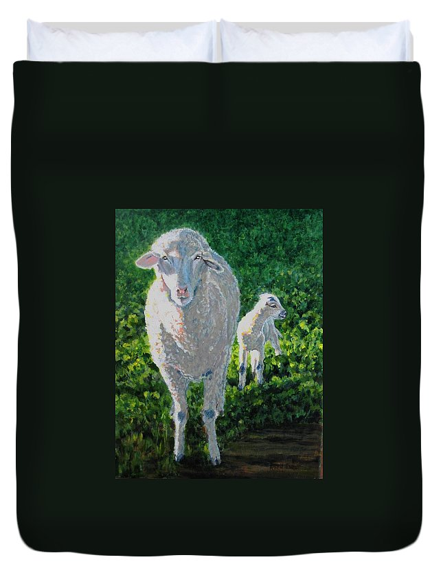 Sheep Duvet Cover featuring the painting In Sheep's Clothing by Karen Ilari