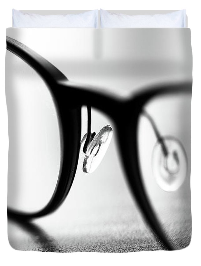 Glasses Duvet Cover featuring the photograph In Style by Peteris Vaivars