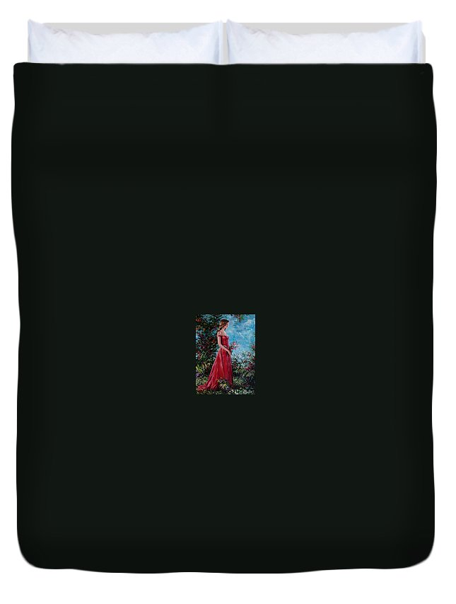Figurative Duvet Cover featuring the painting In summer garden by Sergey Ignatenko