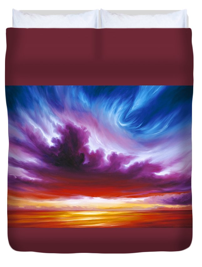 Sunrise; Sunset; Power; Glory; Cloudscape; Skyscape; Purple; Red; Blue; Stunning; Landscape; James C. Hill; James Christopher Hill; Jameshillgallery.com; Ocean; Lakes; Genesis; Creation; Quantom; Singularity Duvet Cover featuring the painting In The Beginning by James Christopher Hill