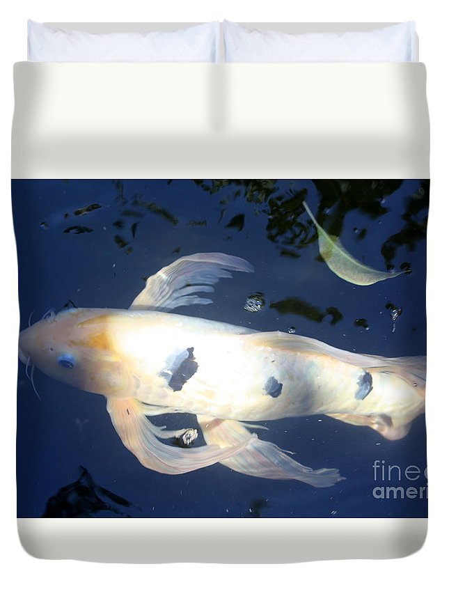 Koi Duvet Cover featuring the photograph In The Blue World by Irina Davis