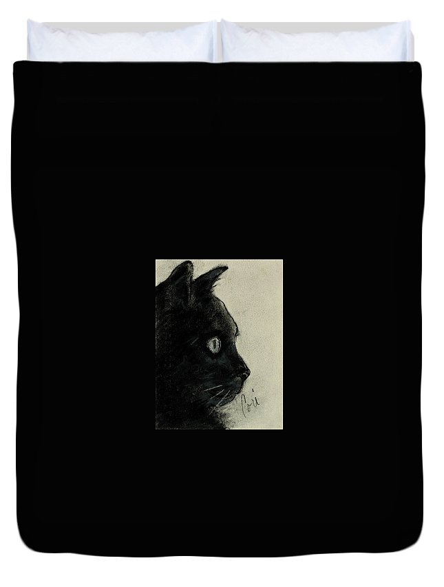 Cat Duvet Cover featuring the drawing In The Dark by Cori Solomon