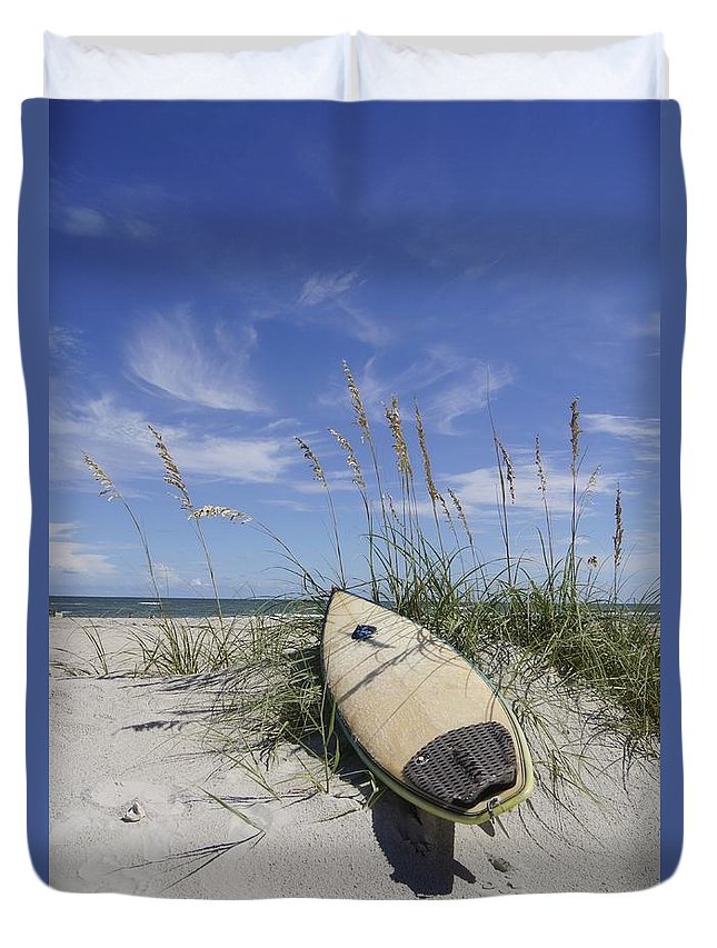 Surfboard Duvet Cover featuring the photograph In The Dunes by Benanne Stiens