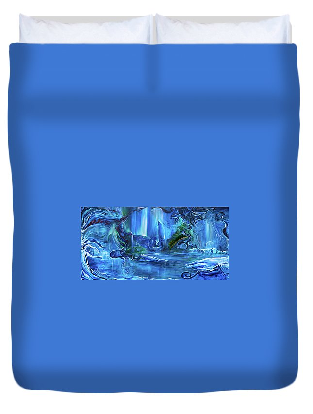 Ice Duvet Cover featuring the painting In The Eyes Of Aurora by Jennifer Christenson