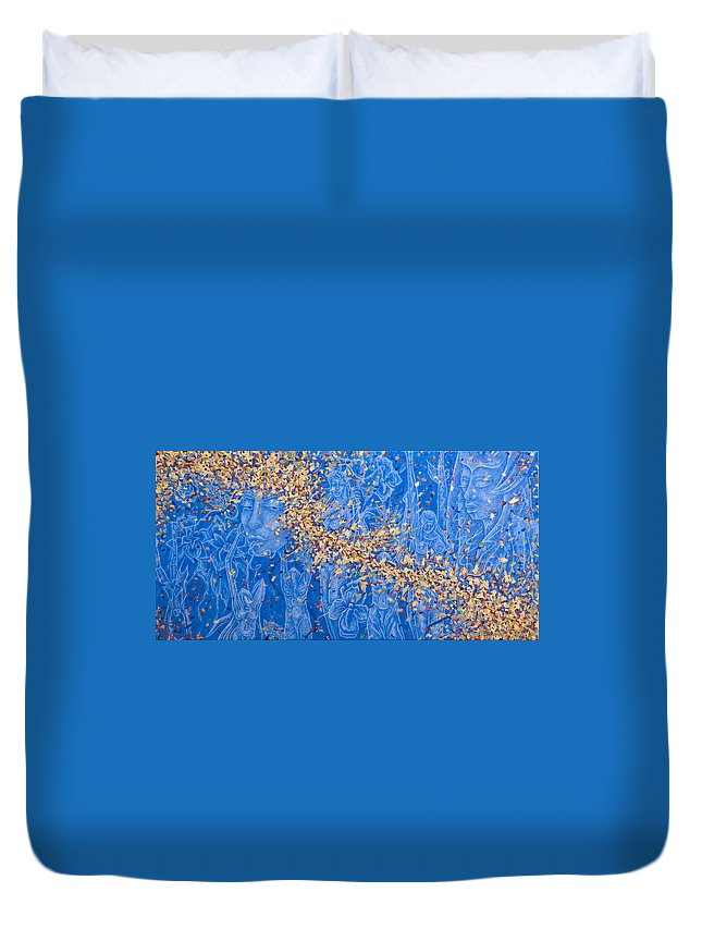 Waterfall Duvet Cover featuring the painting In the Falls by Judy Henninger