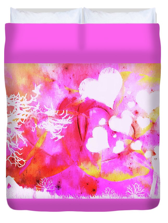 Love Prints Duvet Cover featuring the photograph In The Far Distance by NF-Design Frique