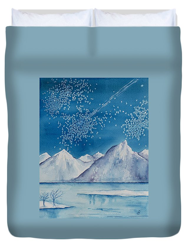 Watercol.or Scenery Landscape Fantasy Ice Snow Cold Winter Mountains Frozen Duvet Cover featuring the painting In The Far North by Brenda Owen