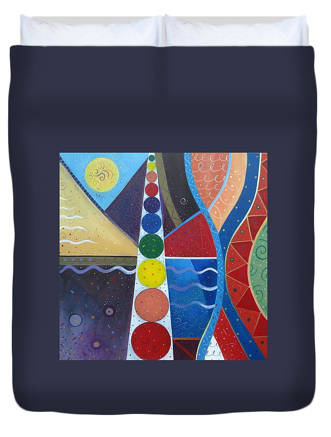 Abstract Landscape Duvet Cover featuring the painting In The Flow by Helena Tiainen