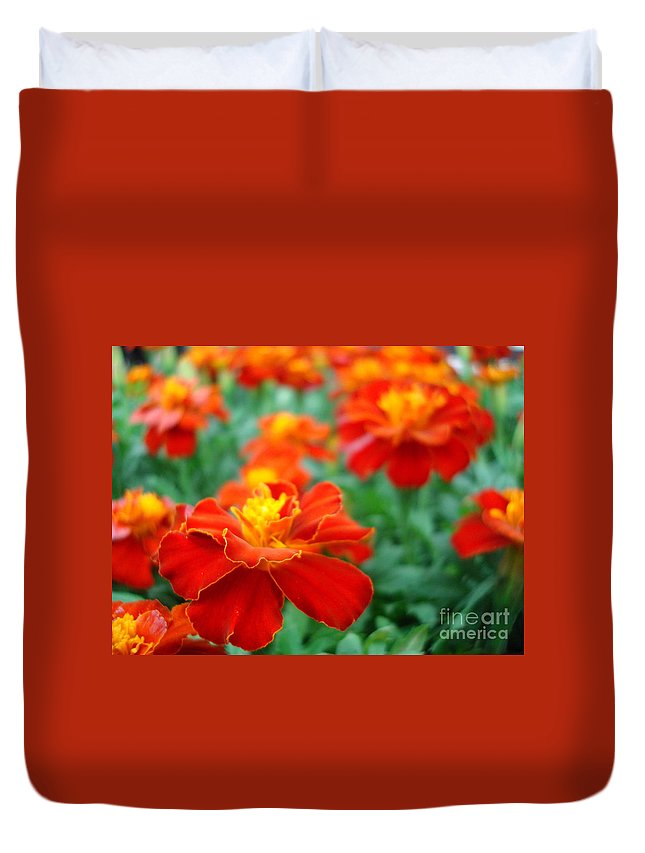 Floral Duvet Cover featuring the photograph In The Garden by Kathy Bucari