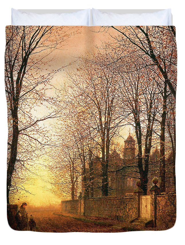 In The Golden Olden Time Duvet Cover featuring the painting In The Golden Olden Time by John Atkinson Grimshaw
