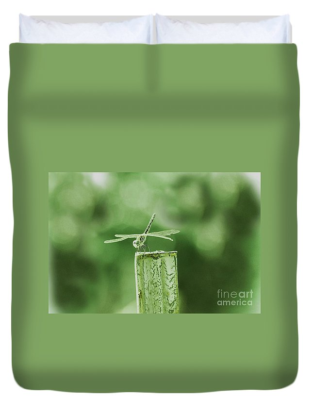 Dragon Fly Duvet Cover featuring the photograph In The Green by Kim Henderson