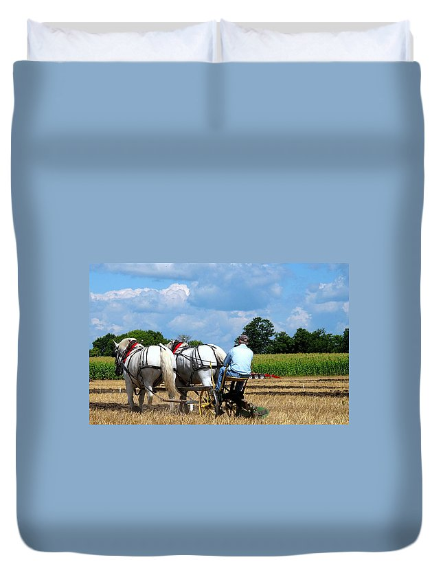 Plowing Duvet Cover featuring the photograph In The Groove by Ian MacDonald