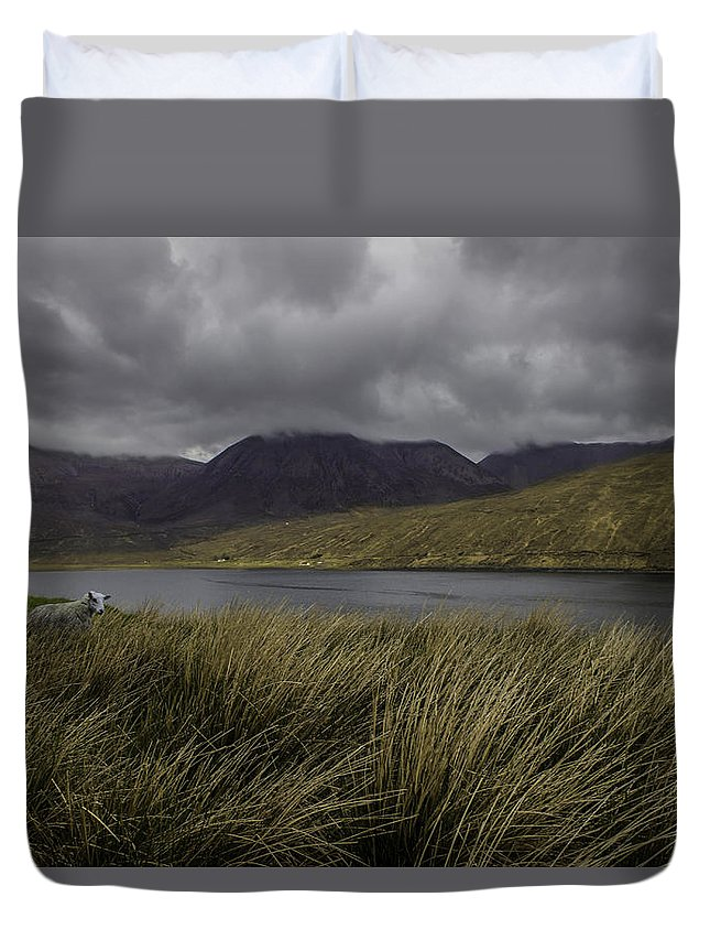 Landscape Duvet Cover featuring the photograph In The Heart Of Scotland by Aksana Tek