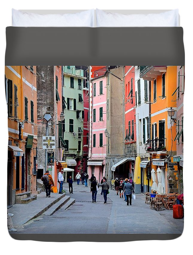 Vernazza Duvet Cover featuring the photograph In The Heart Of Town by Frozen in Time Fine Art Photography