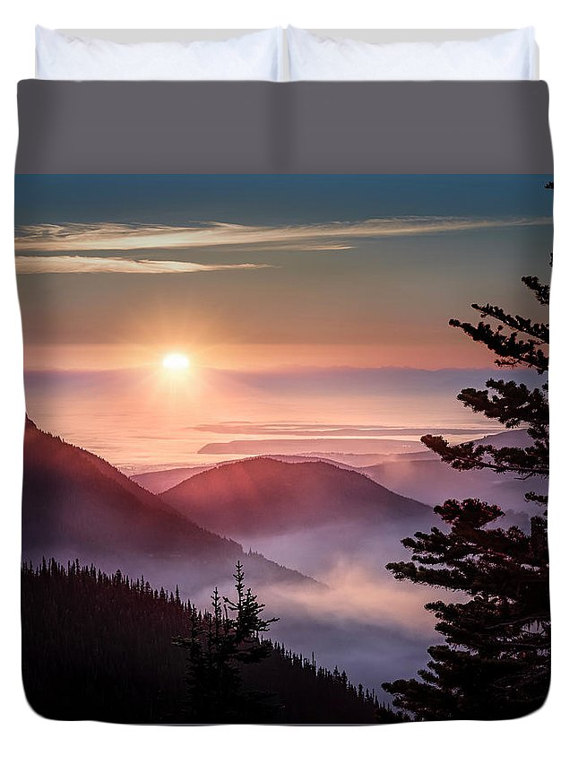 Olympic National Park Washington Mountains Clouds Sunrise Fog Trees Pines Duvet Cover featuring the photograph In The Heavens by Roderick Stent