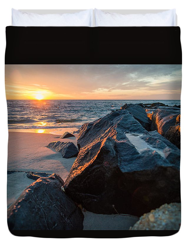 New Jersey Duvet Cover featuring the photograph In The Jetty by Kristopher Schoenleber