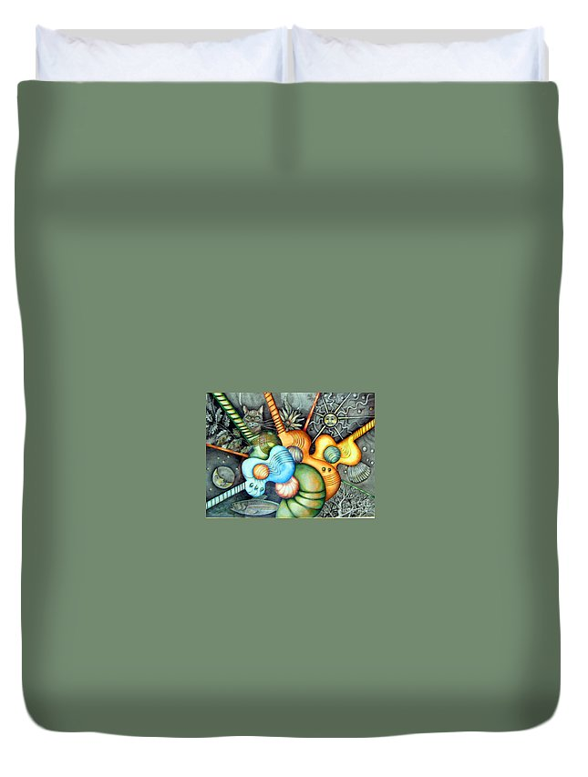 Guitars Music Semi Abstract Duvet Cover featuring the drawing In The Key I See by Linda Shackelford
