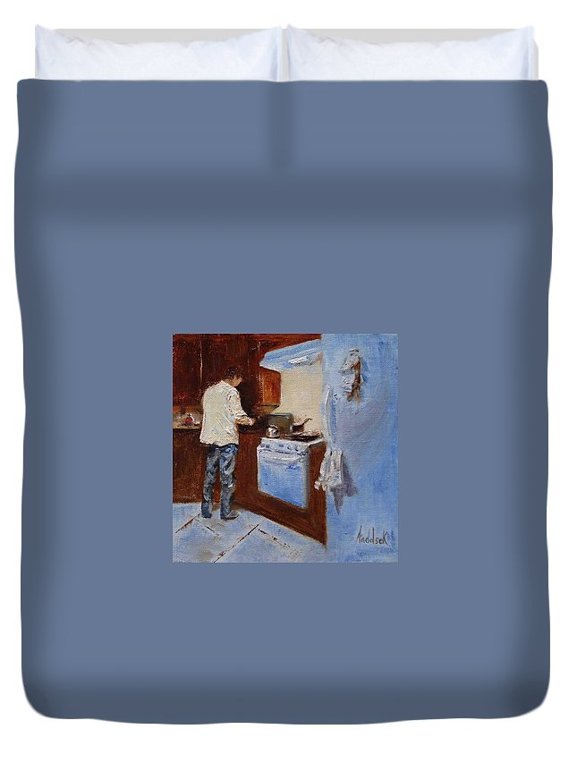 Cooking Duvet Cover featuring the painting In The Kitchen by Barbara Andolsek