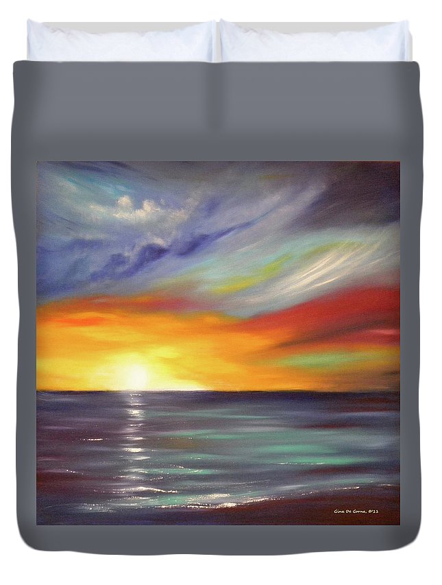 Brown Duvet Cover featuring the painting In The Moment Square Sunset by Gina De Gorna