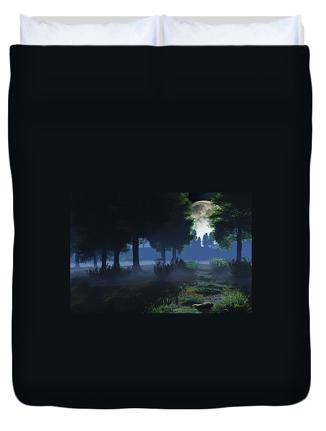 Fog Duvet Cover featuring the digital art In The Moon Light by Max Steinwald