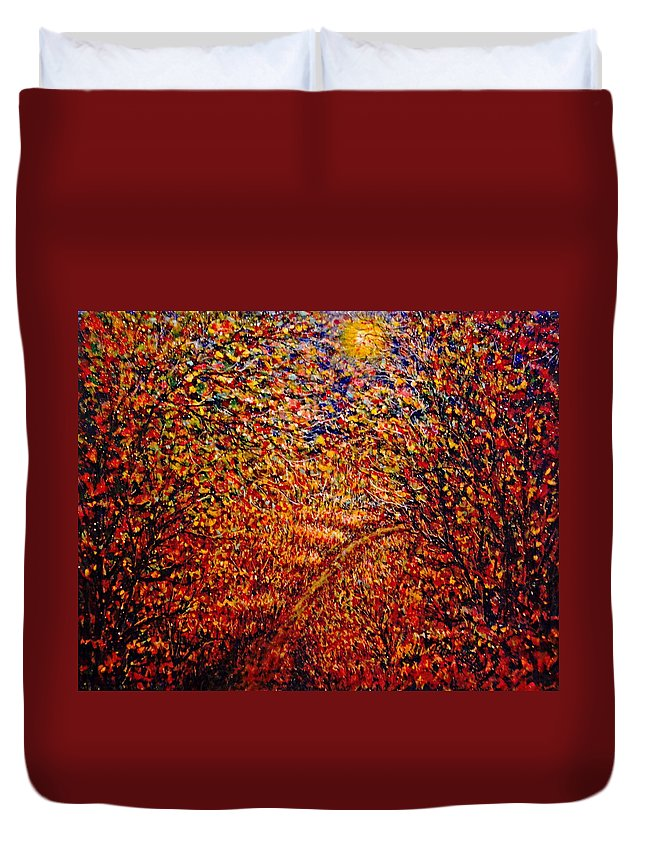 Landscape Duvet Cover featuring the painting In The Moonlight by Natalie Holland