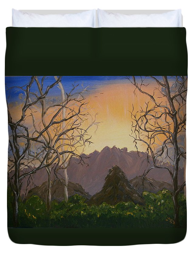 Landscape Duvet Cover featuring the painting In The Mountains by Maria Woithofer