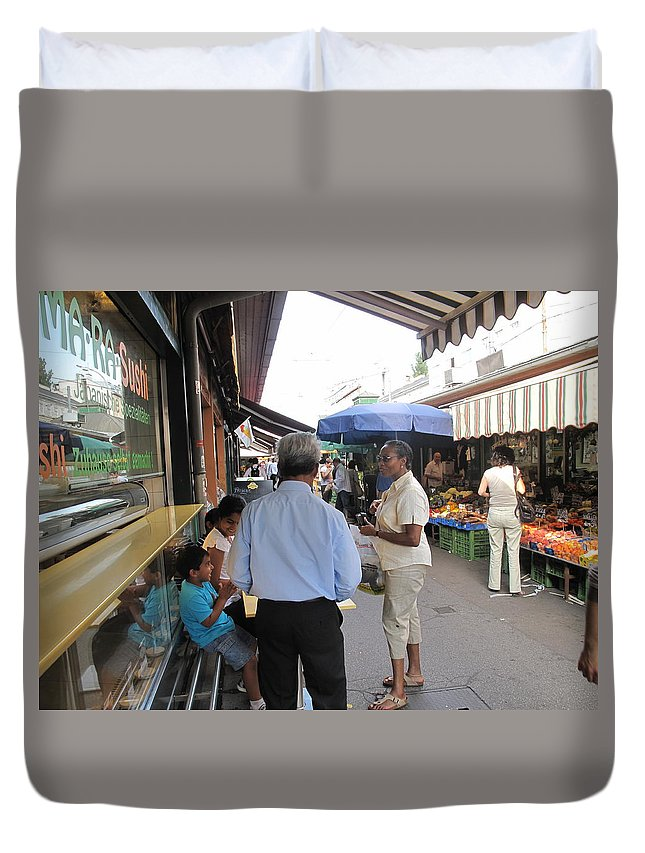 Naschmarkt Duvet Cover featuring the photograph In The Naschmarkt Vienna by Ian MacDonald