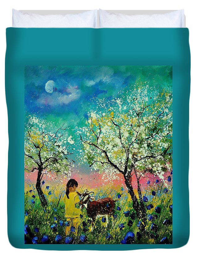 Landscape Duvet Cover featuring the painting In The Orchard by Pol Ledent