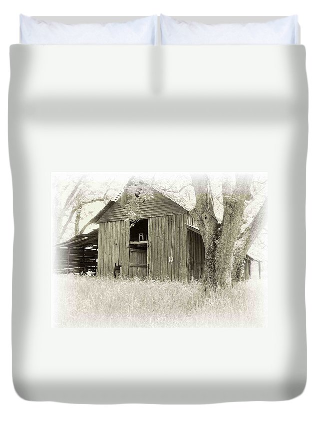 Barn Duvet Cover featuring the photograph In The Pecan Orchard by Nelson Strong