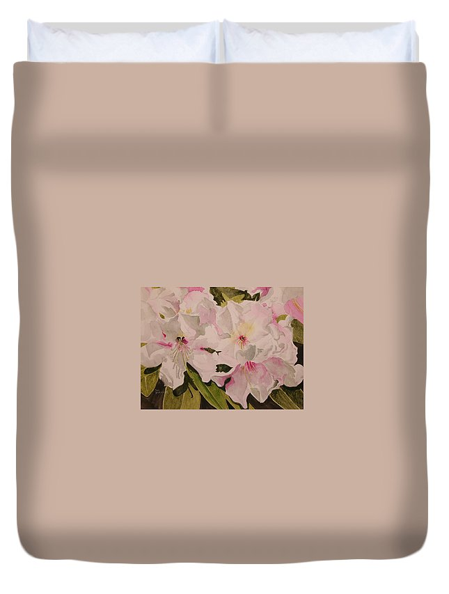 Pink Duvet Cover featuring the painting In The Pink by Jean Blackmer