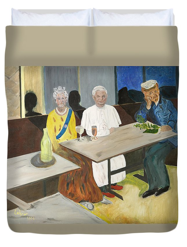 Pub Duvet Cover featuring the painting In The Pub by Avi Lehrer