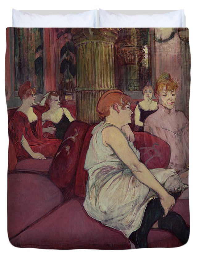 The Duvet Cover featuring the painting In The Salon At The Rue Des Moulins by Henri de Toulouse-Lautrec