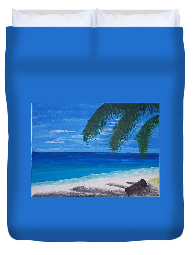 Palm Duvet Cover featuring the painting In The Shade Of A Palm by Nancy Nuce