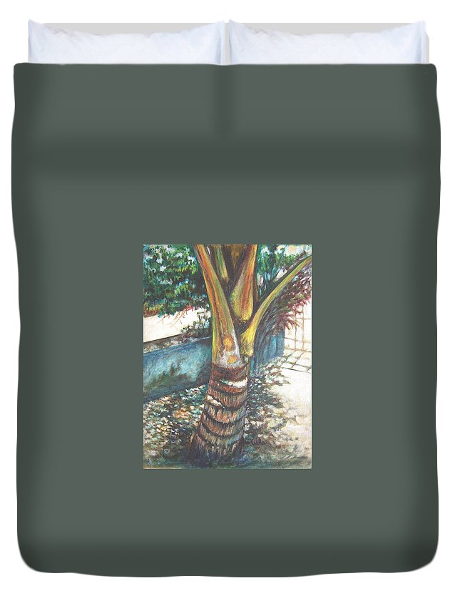 Shade Duvet Cover featuring the painting In The Shade by Usha Shantharam