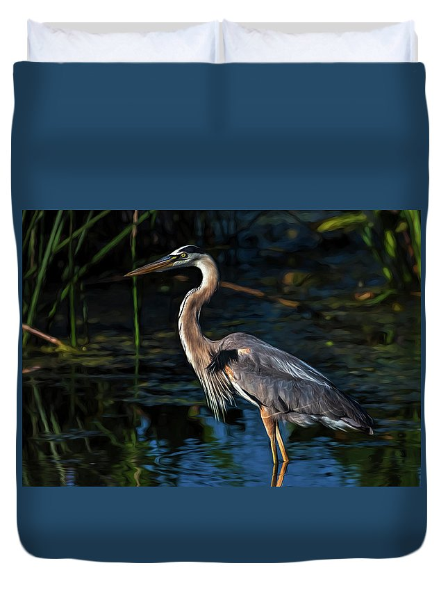 Heron Duvet Cover featuring the photograph In The Stillness by Cyndy Doty