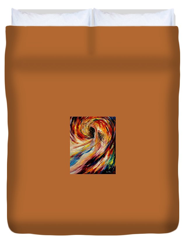 Nude Duvet Cover featuring the painting In The Vortex Of Passion by Leonid Afremov