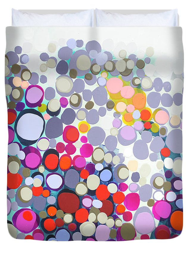 Abstract Duvet Cover featuring the painting In The Winter by Claire Desjardins
