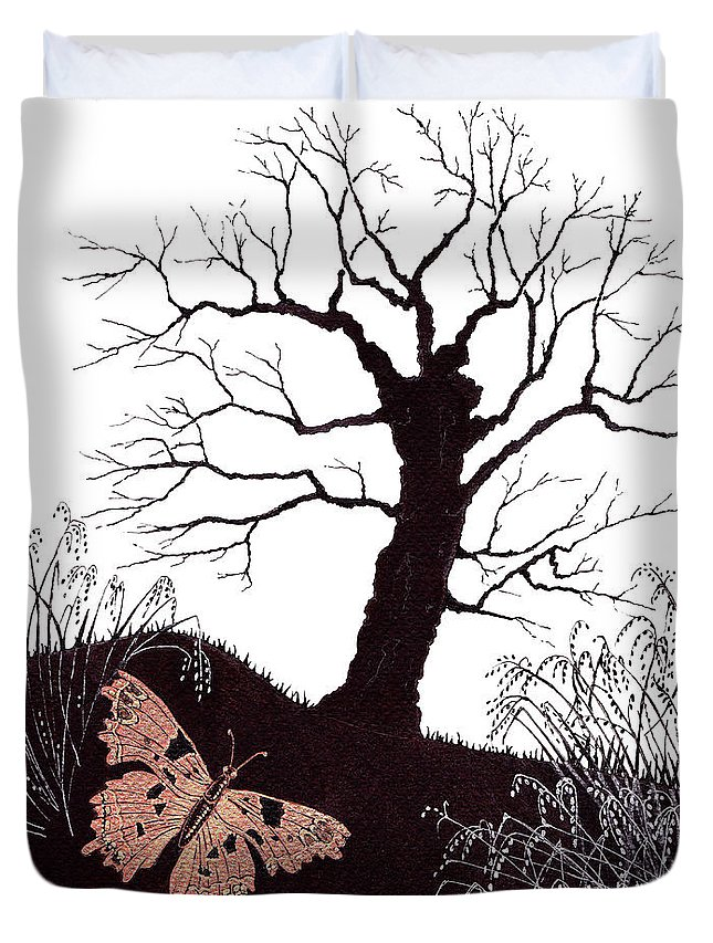 Butterfly Duvet Cover featuring the painting In The Winter Woods by Stanza Widen