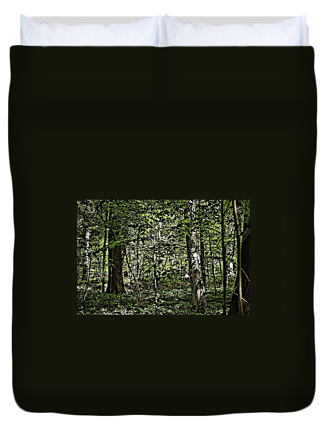 Landscape Duvet Cover featuring the photograph In The Woods Wc by David Lane