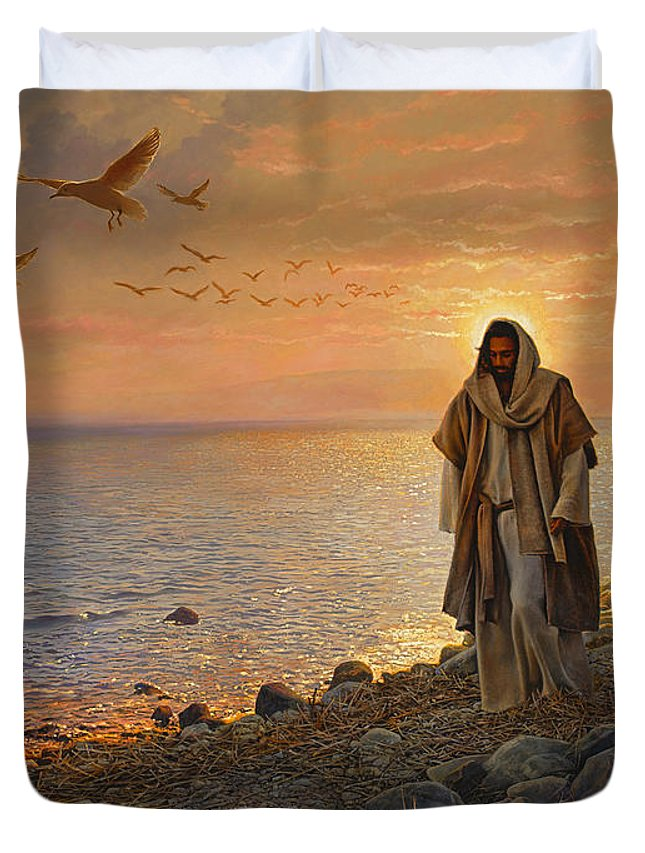 Jesus Duvet Cover featuring the painting In the World Not of the World by Greg Olsen