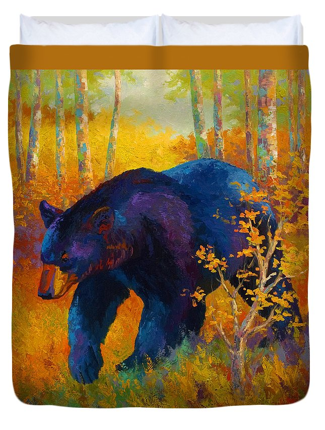 Bear Duvet Cover featuring the painting In To Spring - Black Bear by Marion Rose