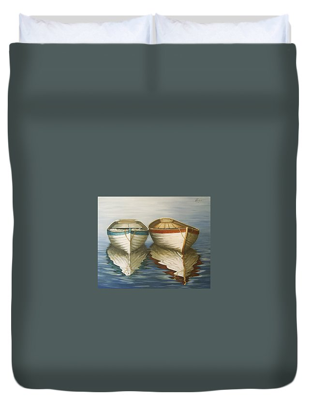 Seascape Ocean Reflection Water Boats Sea Duvet Cover featuring the painting In Touch by Natalia Tejera