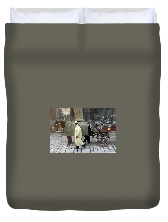 Horse Duvet Cover featuring the photograph In Vienna by Mary Rogers