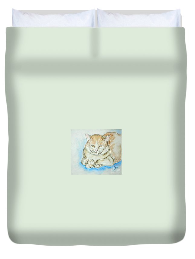 Pastel Duvet Cover featuring the drawing In Waiting by Cori Solomon