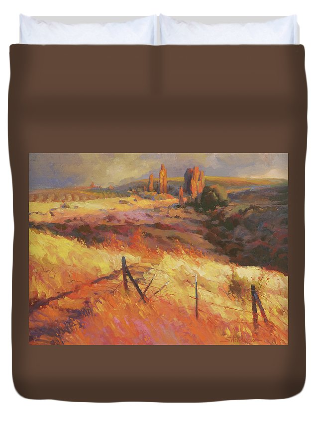 Country Duvet Cover featuring the painting Incandescence by Steve Henderson