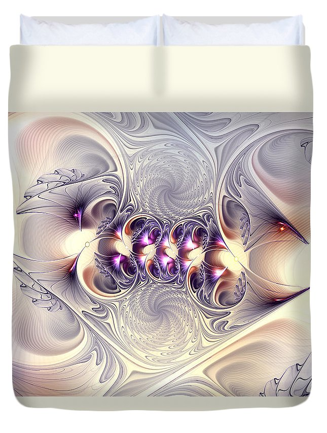 Abstract Duvet Cover featuring the digital art Incandescent Reminiscences by Casey Kotas