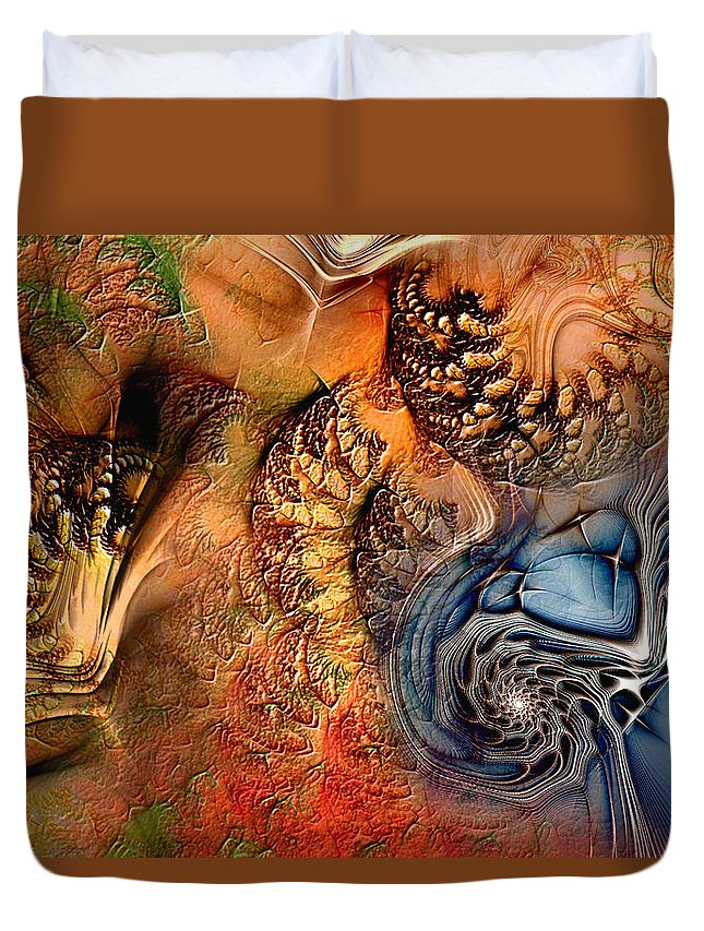 Abstract Duvet Cover featuring the digital art Incident At Neshabur by Casey Kotas