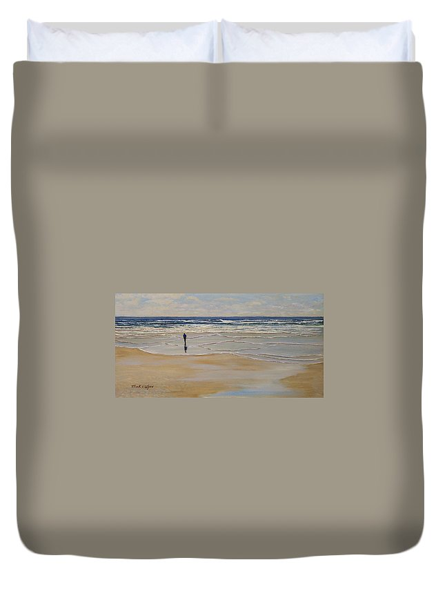 Beach Walk Duvet Cover featuring the painting Incoming Tide by Frank Wilson